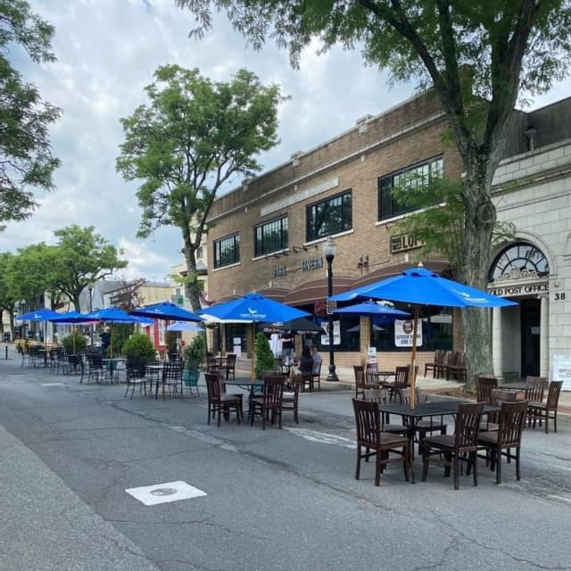 The outdoor dining scene in Ridgewood.
