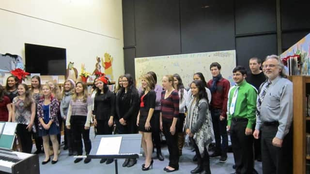 Passaic Valley High School students perform at the Little Falls Library in December 2014.