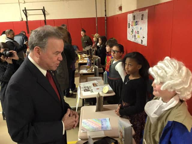 "Rockland County Executive Ed Day speaks to students during ""A Day at the Museum."""