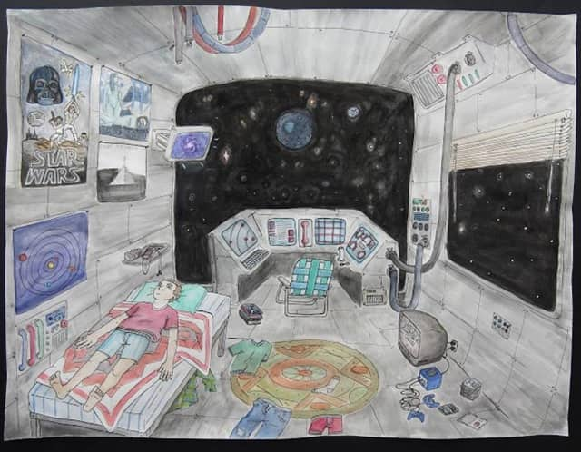 Artwork by Pleasantville High School senior Jake Butcher (space ship bedroom) is included in StArt 2016, an annual regional high school exhibition at the OSilas Gallery at Concordia College.