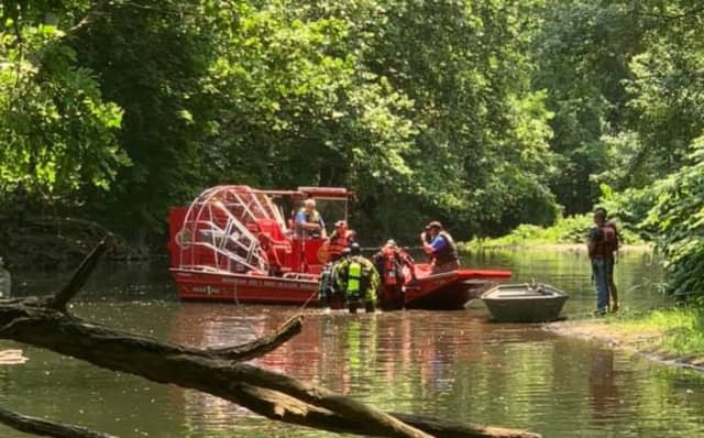 Mahwah Res1cue boat on the Ramapo River on Thursday.