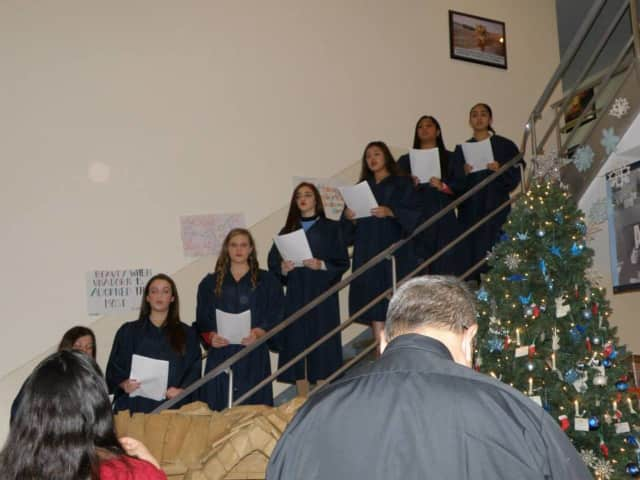 Immaculate Conception High School seniors recently decorated the school's Christmas tree.