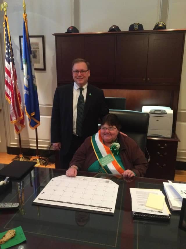 "Stratford Mayor John Harkins poses last year with Irish Mayor for the Day ""Tish"" Morrissey at the town's St. Patrick's Day celebration at Town Hall."