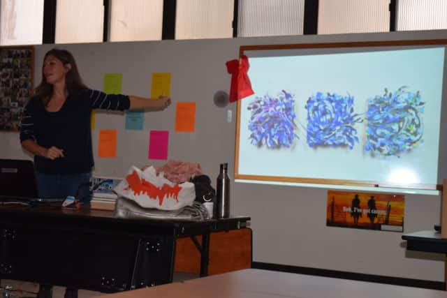 Aurora Robson talks about her art made out of discarded materials on the recent visit to Fox Lane Middle/High School.