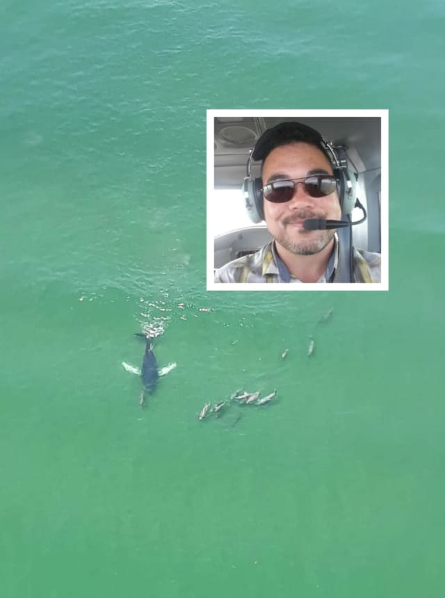 Banner pilot Jeromie Hunter is to thank for the stunning photo of a whale swimming with dolphins off the Jersey Shore coast taken Tuesday.