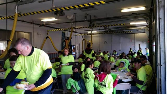 Fair Lawn's volunteers get lunch after cleaning the borough in 2012.