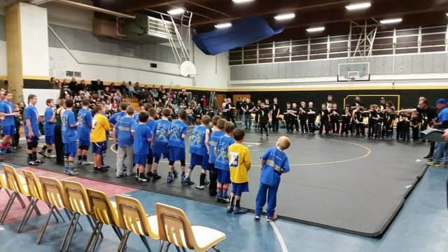 Students gather in the gym at Macopin Middle School.
