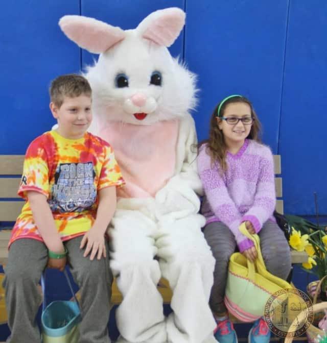 Saddle Brook kids visit the Easter Bunny in 2015.