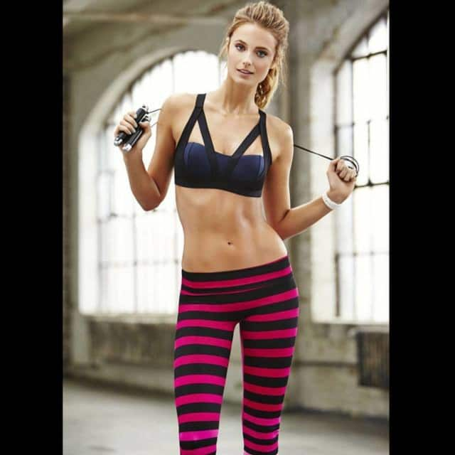 """Model Katelynn Bock fashioned the """"Laura"""" stripe on the model of Fitness Magazine. Westwood's K-Deer relaunched the print last spring."""