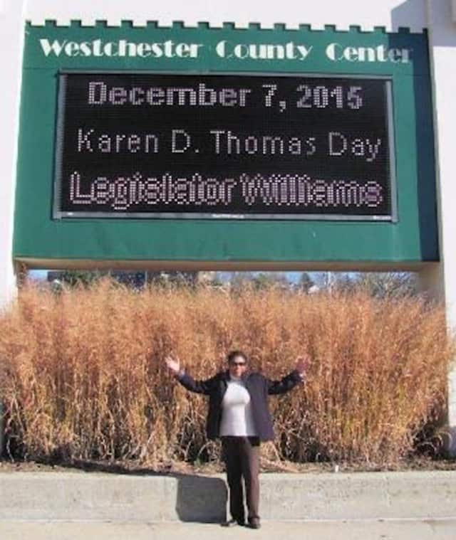 Mount Vernon advocate Karen D. Thomas was celebrated this week for her accomplishments in the city.