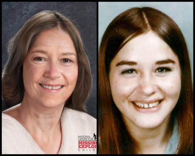 Sheryl Tillinghast age progressed (left) and a photo of her at 17-years-old.