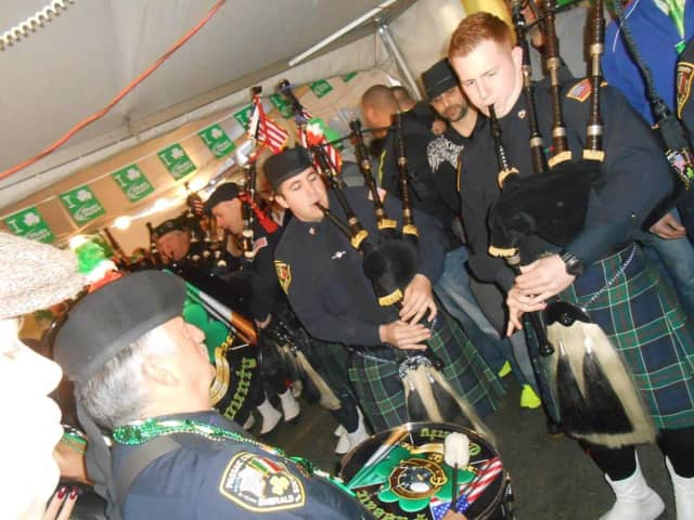 The bagpipes march through on St. Patrick's Day at Murph's Tavern in Totowa.