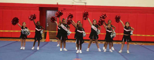The Elmwood Park Cheer Team recentl took second place in a competition.