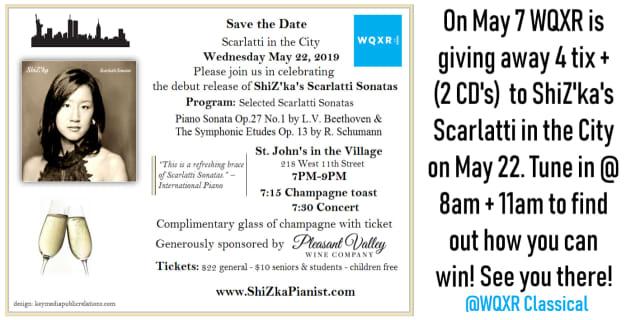 Classical pianist ShiZ'ka Arkus scheduled to give concert celebrating Scarlatti Sonata album on Wednesday, May 22