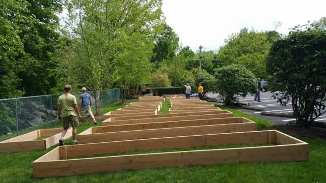 Planting beds have been constructed at the Park Ridge Community Garden.