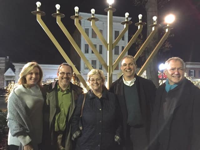 From left: Ridgewood Councilwoman Gwenn Hauck, Rabbi David Fine, Village Manager Roberta Sonenfeld, Mayor Paul Aronsohn, Ridgewood Guild President Tony Damiano.