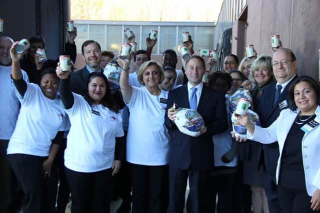 ShopRite recently donated 200 turkeys and 30,000 canned vegetables to the Food Bank for Westchester.