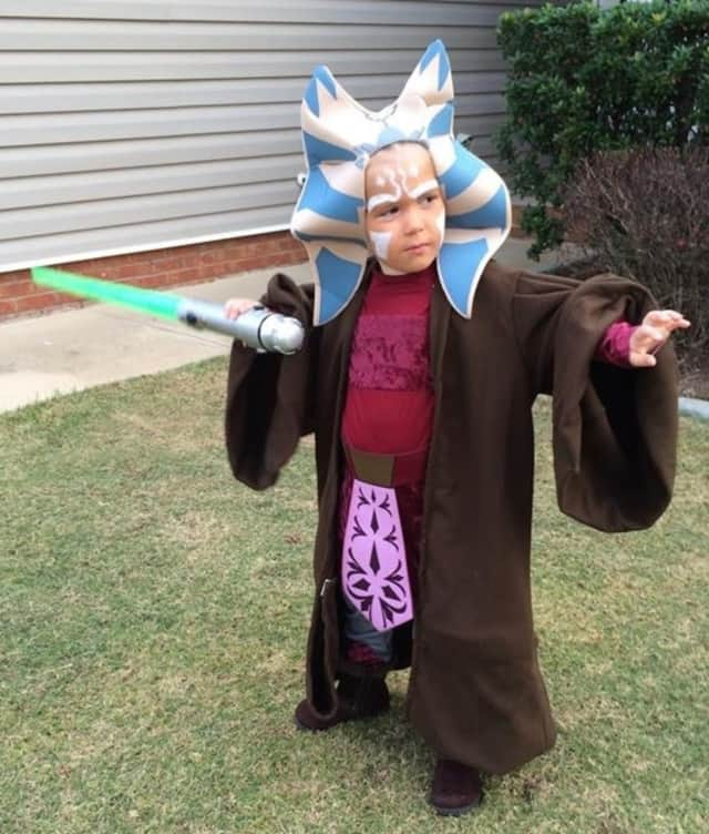 The Oakland Public Library is raffling off Star Wars toys to go with costumes like this one.