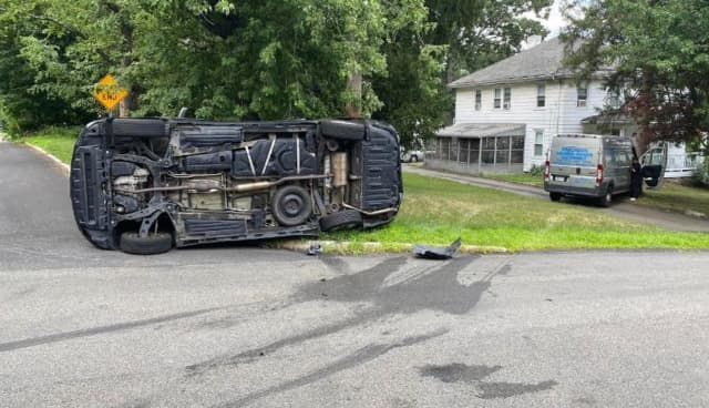 The driver of a van in Rockland County overturned after being involved in a two-car crash, police said.