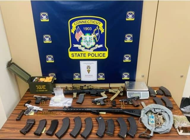 Connecticut State Police seized weapons and ammo in Bridgeport.