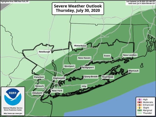 A look at areas (in darker green) where thunderstorms are more likely.