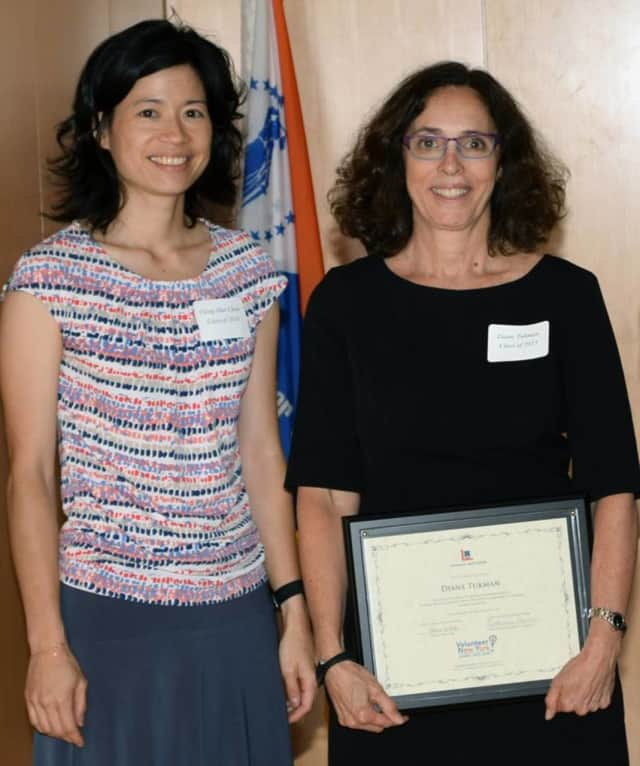 Ching-Hua Checn, IBM, with Diane Tukman, My Sisters' Place, White Plains. Tukman, director of development and programs at Bridges to Community in Ossining, has been named My Sisters' Place new chief program officer.