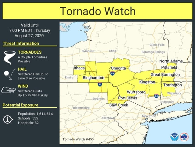 A look at counties covered by the Tornado Watch.