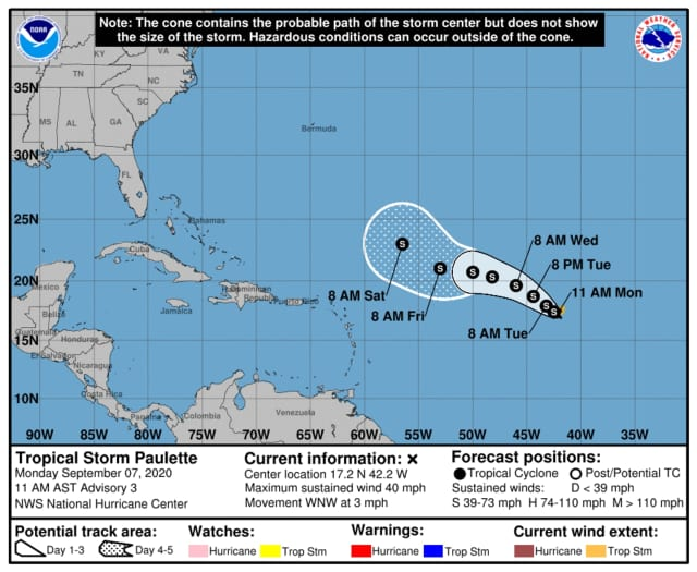 The projected path of Tropical Storm Paulette was released Monday, Sept. 7 by the National Hurricane Center.