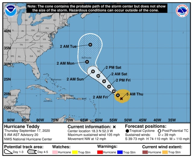 The latest projected track, released Thursday morning, Sept. 17 by the National Hurricane Center, is shown above.
