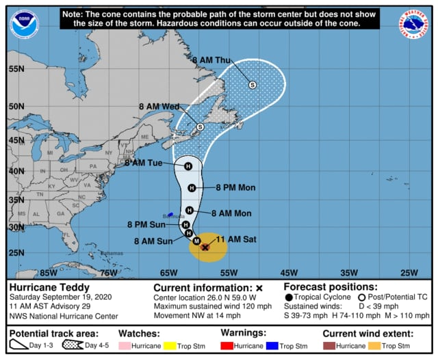 The latest projected path for Hurricane Teddy, released Saturday morning, Sept. 19.