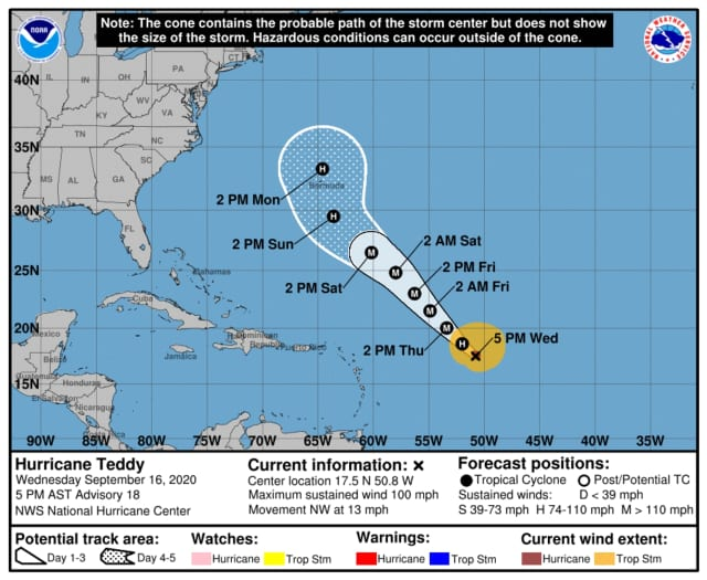A look at the latest project path for Hurricane Teddy, released Wednesday evening, Sept. 16 by the National Hurricane Center.