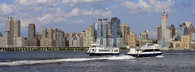 Ferry service is disrupted due to icy conditions on the Hudson River.