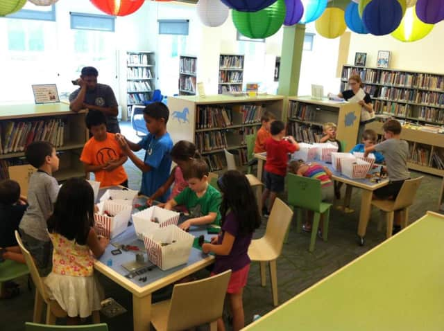 Children building in a lego class being offered by the Lewisboro Library on Tuesday, Sept. 15.