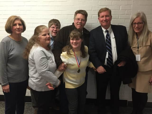 from left, Pines Bridge teacher Andrea Vezos, Debbie Love, Katelyn's brother Christopher, Katelyn Love, Peter Love, PNW BOCES Superintendent Dr. James Ryan and PNW BOCES Director of Special Education Shelley Fleischmann