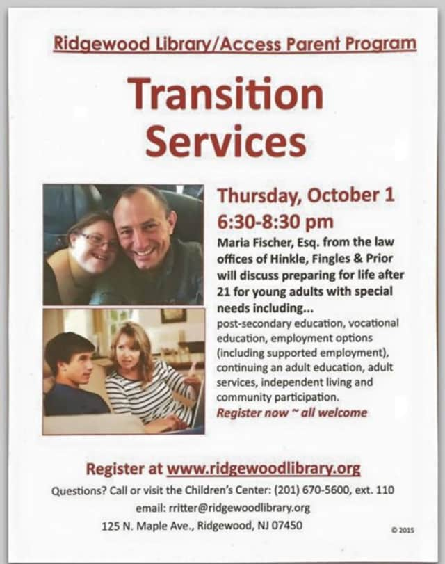Register now for the Ridgewood Library program for parents of young adults with special needs.