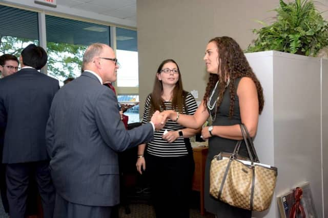 These visitors attended a Mahwah Regional Chamber open house event.