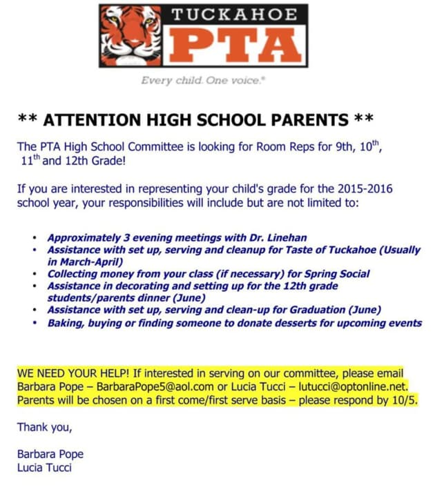 The Tuckahoe PTA is looking for room representatives for the high school for this school year.