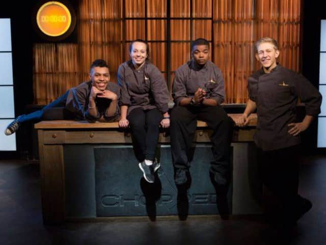 """Max Aronson, far right, is winner of Food Network's """"Chopped Teen Tournament."""""""