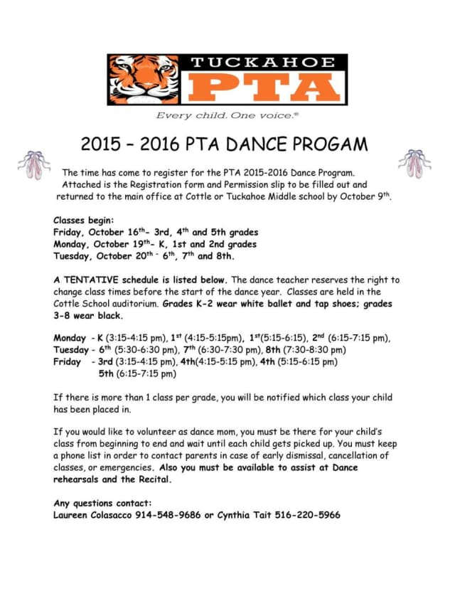 The annual Tuckahoe PTA dance program has now opened registration for the year.