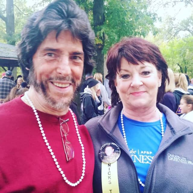 """Craig and Elaine Arnoldi participated in annual """"Out of the Darkness"""" walks in honor of their son, Nicholas."""