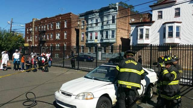 Paterson Fire Department battled the blaze on Sunday.