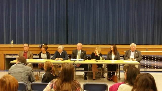 Mahwah Board of Education candidates from left: Ted Slockbower, Leslie Konikow, Michael Galow, John Dolan, Ewa Asterita, Christine Davis and Peter Wendryochowicz.