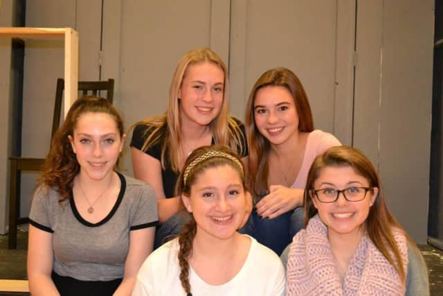 """To See the Stars"" cast members: Delaney De Titta, far left; Emma Scholes, back left; Sara Bayles, back right; Maggie Minas, far right; and freshman Gabrielle Blundo, center."
