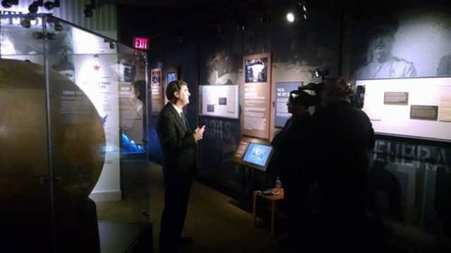 Paul Sparrow of the FDR Library and Museum speaks to Telemundo 47 on Thursday.