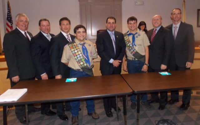 Wood-Ridge Eagle Scout hopeful Andrew Rojas, third to right, with the mayor and council.