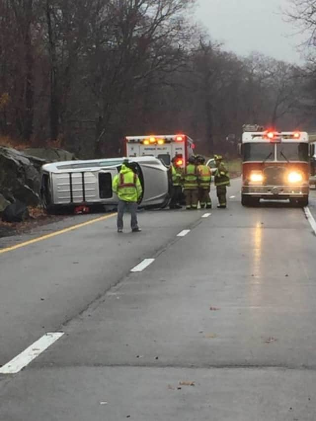 A rock slide and overturned vehicle caused major backups on the Taconic State Parkway.