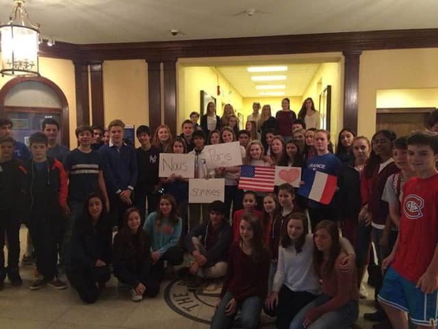 Bronxville students showing support for their neighbors in France.
