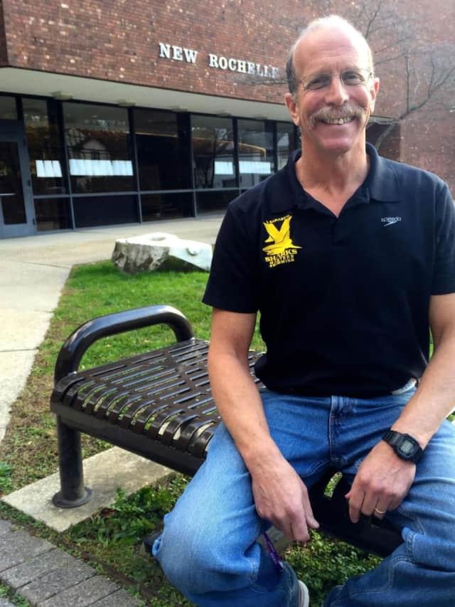 New Rochelle High School math teacher Steve Newman set a world record at the Shark Tank Short Course Meters Meet.