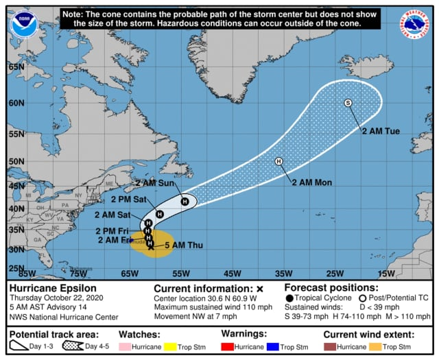 Here's the brand-new projected track for Hurricane Epsilon, located near Bermuda on Thursday, Oct. 22.