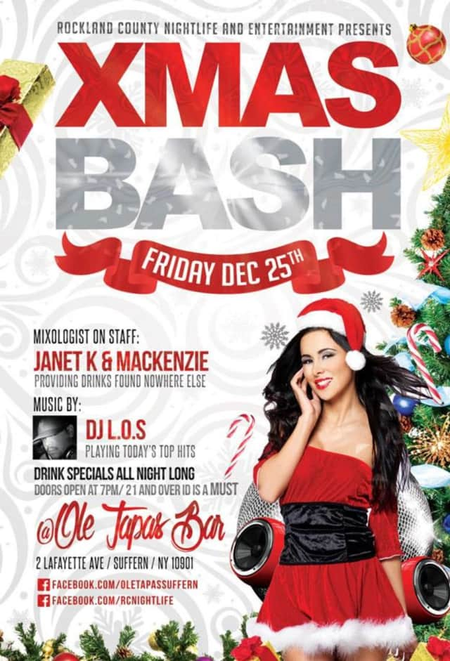 """Ole Tapas Bar in Suffern is hosting its annual """"Xmas Bash"""" with drinks and dancing on Friday, Dec. 25."""